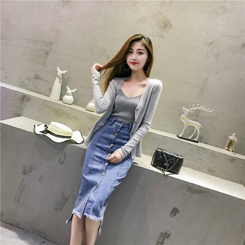 Early Autumn WOMEN'S Suit-Style Three-piece Set 2019 New Style Network Hong Yang Gas Goddess Elegant Denim Skirt Dress Outfit