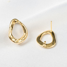 6PCS Classics 24K Gold Color Plated Brass Drop Shaped Stud Earrings High Quality DIY Jewelry Making Findings