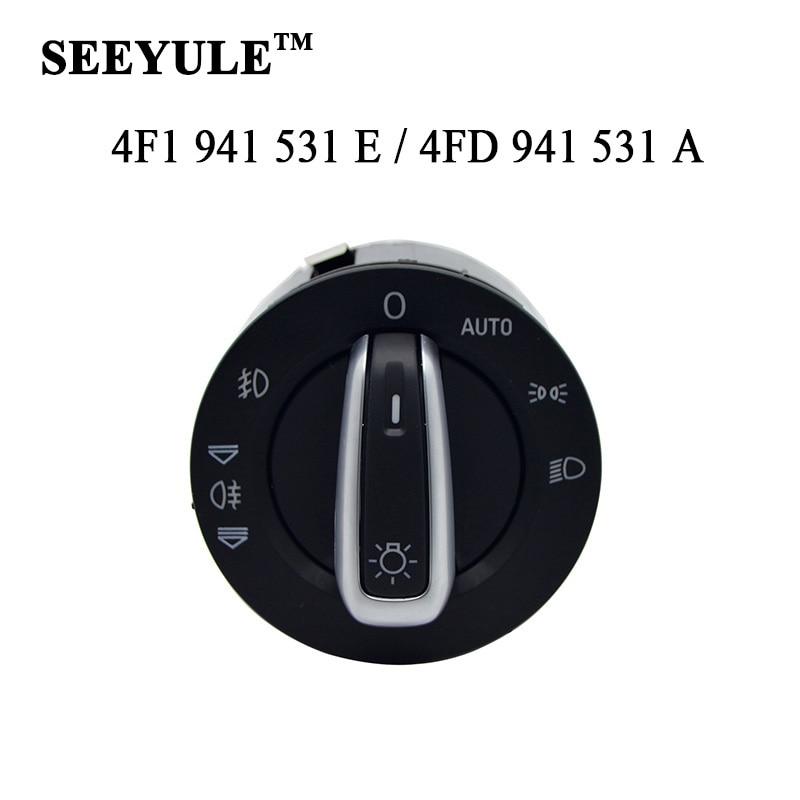 1ks SEEYULE 4F1 941 531E / 4FD 941 531A Auto Chrome Spínač světlometů Spínač mlhových světel 4F1 941 531 E / 4FD 941 531 A pro Audi A6LC6
