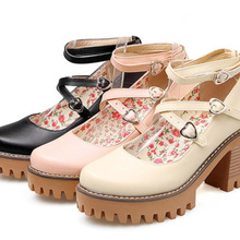 Sweet Lolita Cosplay Uniform Shallow Middle-Heel Japanese Girl Round-Head JK Mouth College-Style
