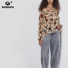 ROHOPO Red Floral Ruffled Pullover Long Sleeve Khaki Blouse Autumn Ladies Butterfly Elegant Holiday Top Shirt #9772