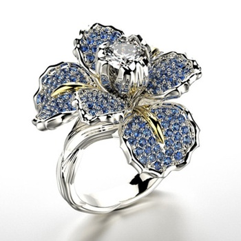 Women's jewellery two-colour Ring Gladden Flower Jewellery Ring Zircon Ring Female wedding ring size 6/7/8/9/10 image