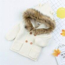 Детский зимний свитер, двубортное трикотажное пальто для мальчиков и девочек, свитера, топы с капюшоном, Одежда для новорожденных, детские свитера, одежда унисекс