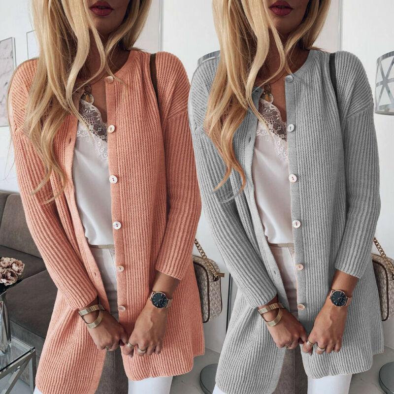 New Women's Knitwear Cardigans Coat Baggy Knitted Long Sleeve Sweater Jumper Tops Women Cardigan Sweater Outwear Coat Jacket