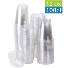 360ml ( 12oz ) - 100 Cups TPE Plastic Coffee Cups Clear, Disposable Cups for Tea,smoothies Sodas and Mixed Drinks
