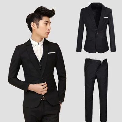 2017 Men's Two-Piece Set Suit Set Spring And Autumn Marriage Groom Formal Dress Best Man Suit Slim Models Korean-style Suit
