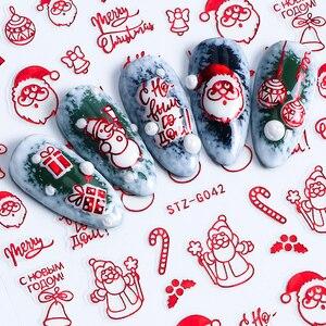 Image 5 - 3D נייל מדבקות זהב אדום חג המולד אמנות ציפורן מדבקות פתיתי שלג אותיות דבק קסמי מחוון עיצוב קישוטי TRSTZG041 049