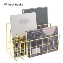 Book-Stand File Desktop-Decoration Wrought-Iron Metal Three-Grid Convenient Durable
