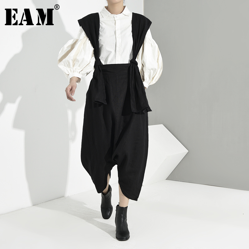 [EAM] High Waist Black Bandage Leisure Long Overalls Trousers New Loose Fit Pants Women Fashion Tide Spring Autumn 2020 JE8220