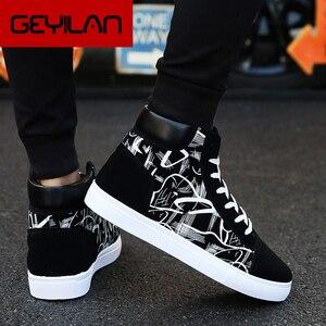 2019 Plus rozmiar 39-44 marka mężczyźni trampki platformy buty oddychające drukuj buty męskie wysokie góry skarpety Walking mężczyźni buty wulkanizowane