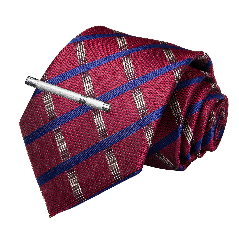 Fashion Men Tie Red Blue Plaid Wedding For Hanky Cufflink Clip Set DiBanGu Designer Silk Dropshipping  MJ-7170
