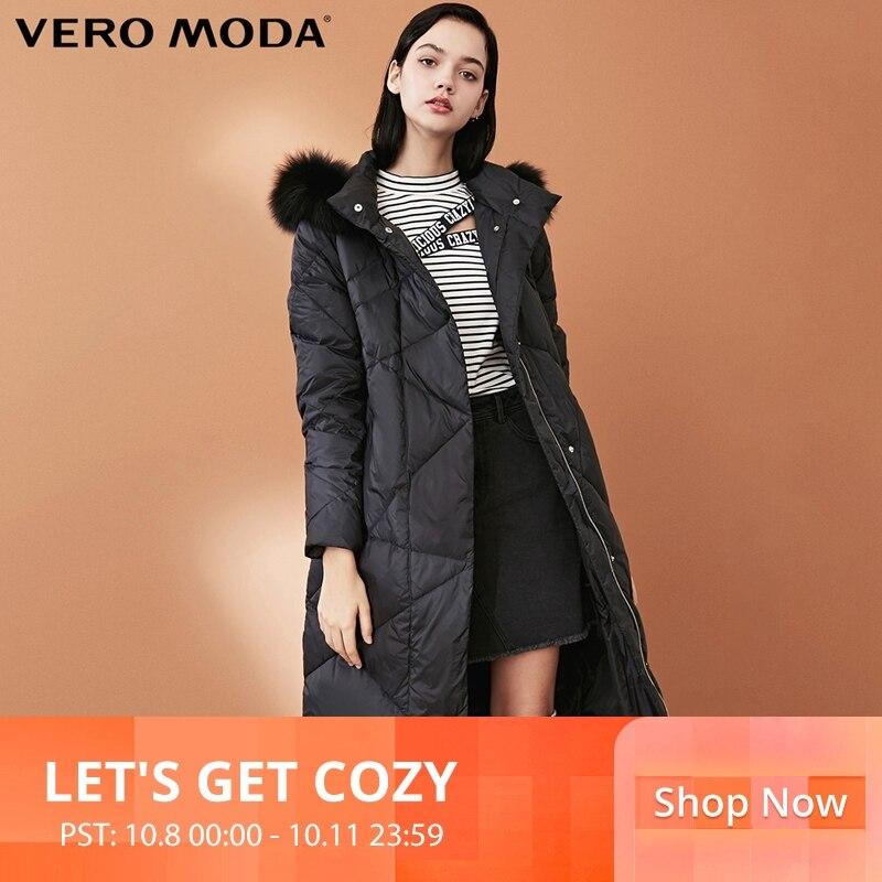 Vero Moda Women's New 90% White Duck   Down   Fox Fur Collar Long   Down   Jacket Parka   Coat  | 318312501