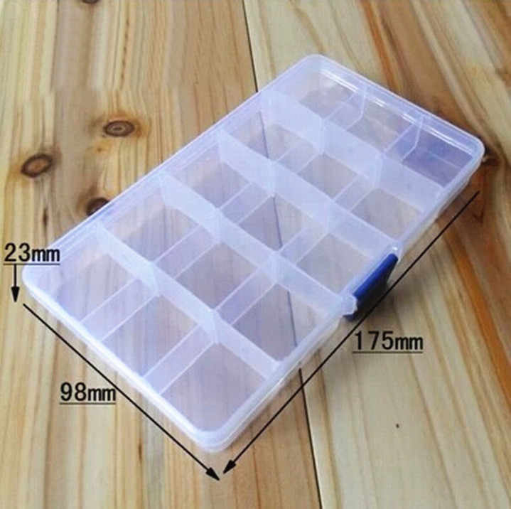 Portable 15 Slots Adjustable Plastic Fishing Lure Hook Tackle Box Storage Case Organizer Multifunctional Fishing Tackle Box  0.9