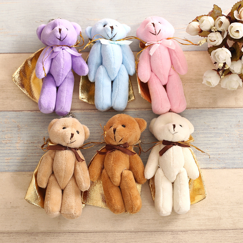 5PCS/LOT Joint Ted Bear Plush Toy Animal Stuffed Brown Doll Teddy Bears With Bow Plush Pendant Kids Toys Wedding Gifts