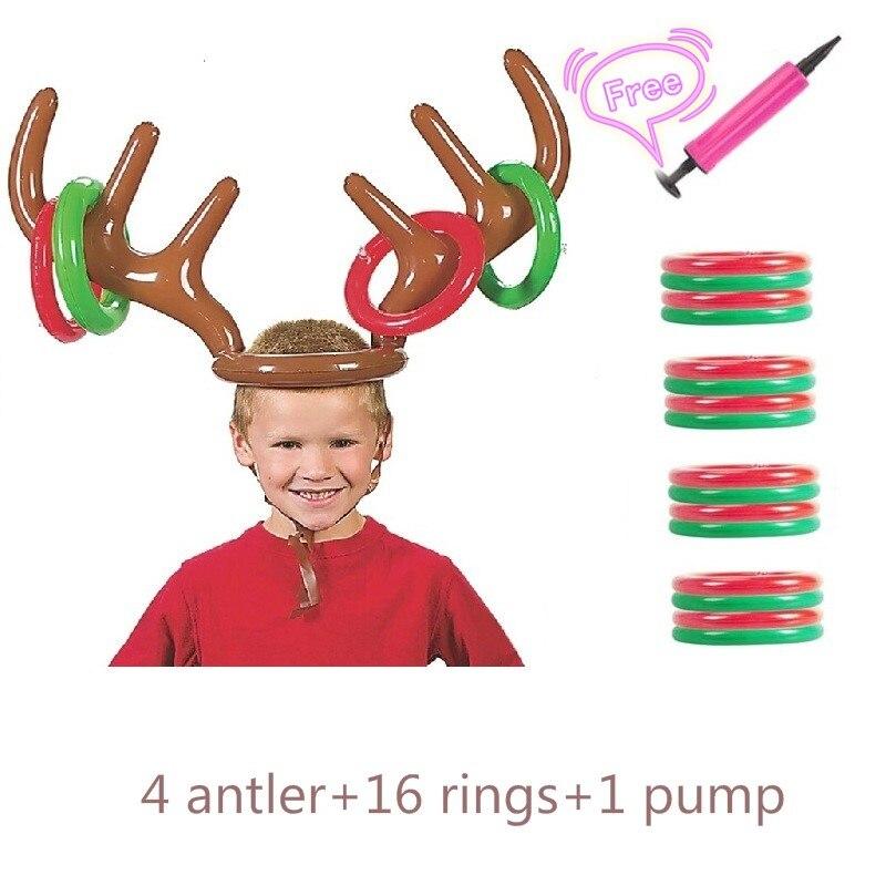 2020 Easter Inflatable Antler Deer Head Ring Santa Funny Reindeer Antler Wearable  Animal Head Ring Party Throwing Circle
