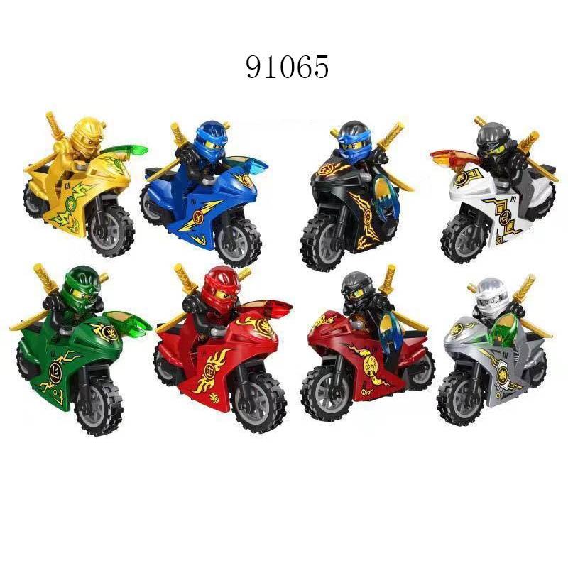 New Compatible LegoINGlys Ninja Team Series Motorcycle Figure Fighting Bricks Building Block Collection Toy Birthday Gift 91065