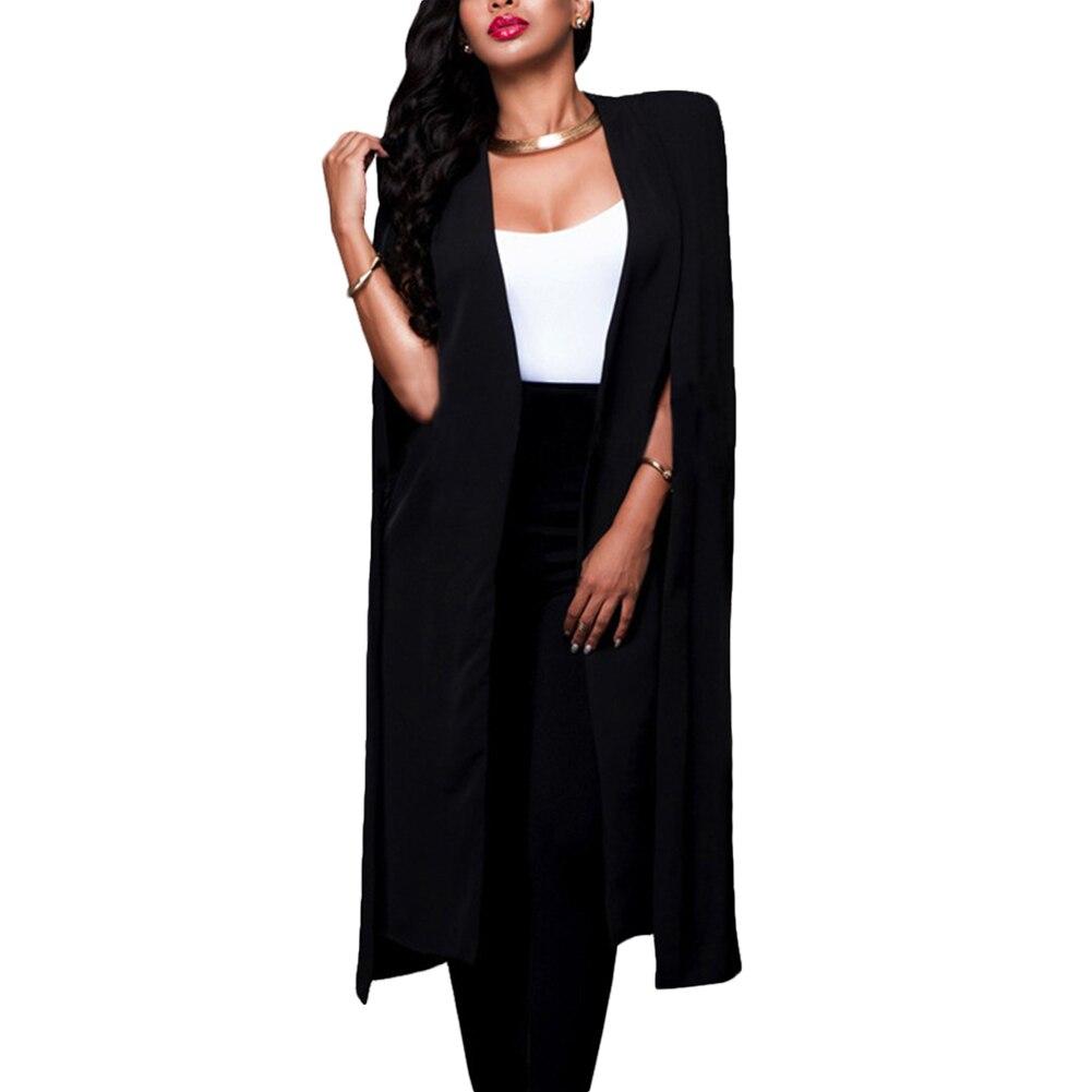 Womens Loose Long Cloak Blazer Cape Trench Cardigan Coat Open Front Split Sleeve Coat NFE99