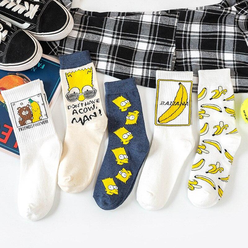 INS Unisex Funny Cartoon Banana Socks Harajuku Cool Skateborad Sokken Art Fashion Cotton Hipster Happy Fruit Socks