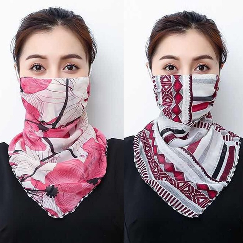 Women Face Scarf Mouth Wraps Summer Sunscreen Sun Protection Dust Anti Floral Print Neck Scarves Easy Hair Band Face Bandana