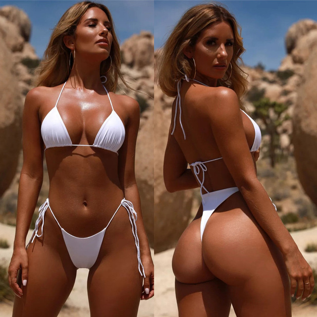 High Waist Bikini 2020 String Bikini New Solid Color Swimsuit Strap Sexy Split Swimming Suit 2 Piece Sets Womens 4