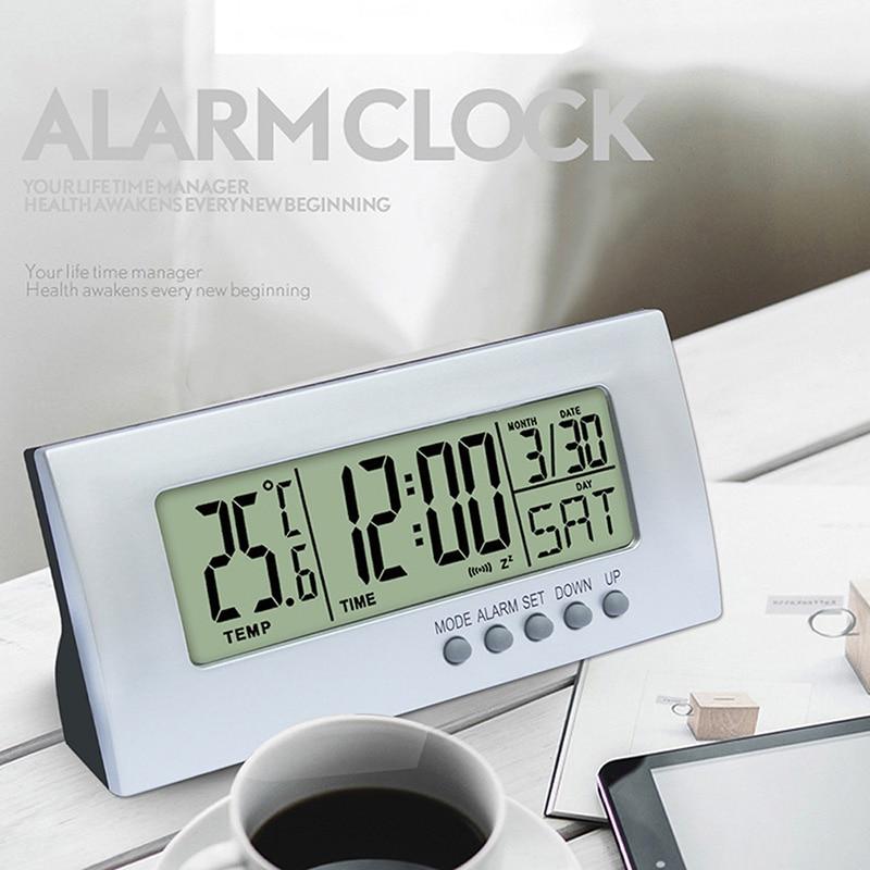 LCD Digital Alarm Clock 12/24H Alarm Clock Date Snooze Function Temperature Display for Bedroom Table Decor
