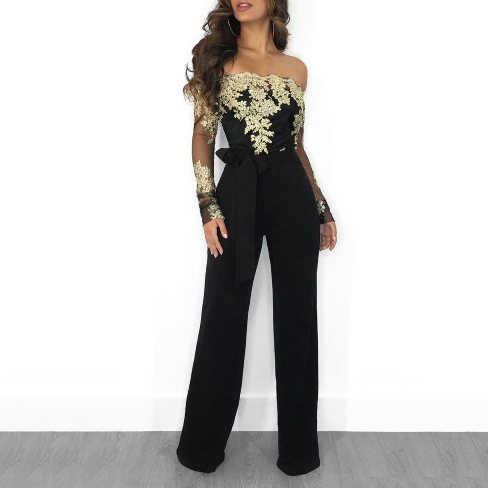 Elegant Rompers Embroidery Lace Sheer Mesh Off Shoulder Workwear Long Sleeve Straight Leg Jumpsuit Autumn Fashion Women Jumpsuit