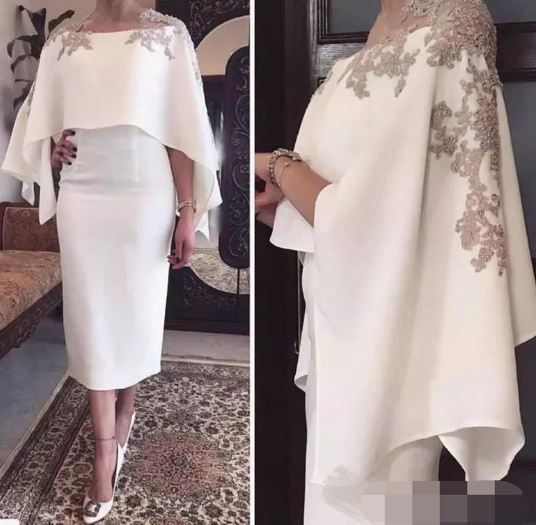 Gray Lace Appliques Beaded With Wrap Short Tea Length Party Evening Vestido Novia Prom Gown 2018 Mother Of The Bride Dresses