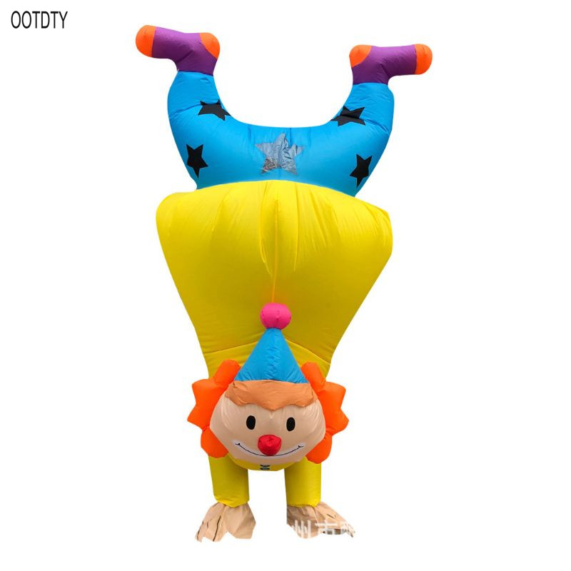 OOTDTY Hand Clown Inflatable Costume Adult Funny Blow up Outfit Halloween Cosplay Party Dress
