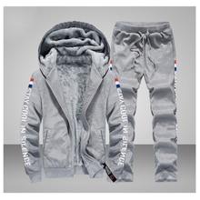 2019 Winter Tracksuits Men Set Thicken Warm Suit Winter Fleece Sweatshirt Sportswear Set Men Jacket+Pants Print Sporting Suits