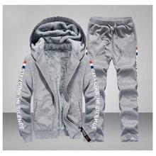 2019 conjuntos de treino de inverno dos homens engrossar quente terno de inverno velo moletom conjunto de roupas esportivas jaqueta + calças estampado ternos esportivos