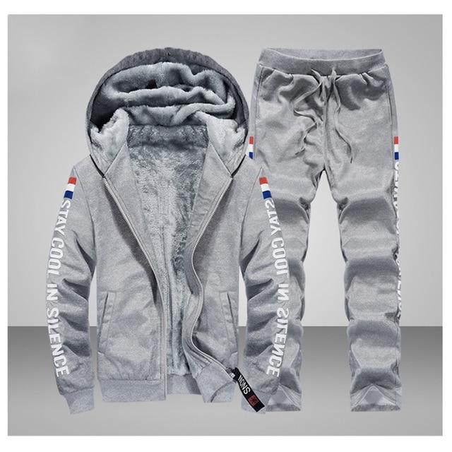 2019 الشتاء رياضية الرجال مجموعة رشاقته الدافئة دعوى الشتاء بلوزة من الصوف مجموعة ملابس رياضية الرجال سترة السراويل طباعة الرياضية الدعاوى