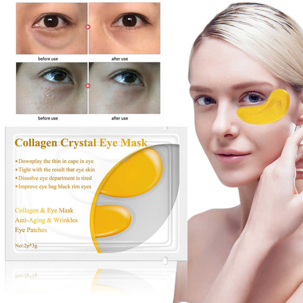 1 Pasang 24K Crystal Collagen Gold Eye Mask Gelap Lingkaran Bengkak Mata Casing Anti Penuaan Kerut Firming Eye patch Perawatan Kulit TSLM2