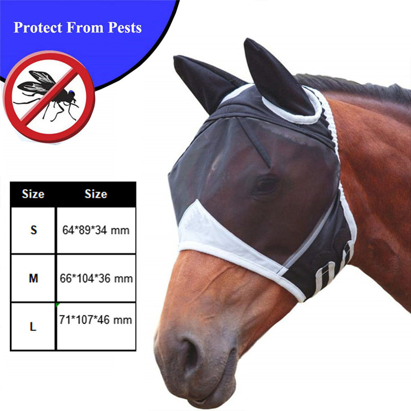 Detachable Horse Fly Mask Face Head Ear Cover Horse Riding Equipment Racing Equestrian Fly Bonnet Met Anti-mosquito Maks
