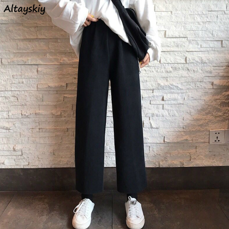 Wide Leg Pants Women Pure Black Korean Style Leisure All-match Stylish Ankle-length Femme Trousers Oversize Spring Streetwear