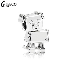 CUTEECO 2019 New Robot Dog DIY Charm Beads Fit Pandora Bracelet Necklace For Women Jewelry Accessories Wholesale