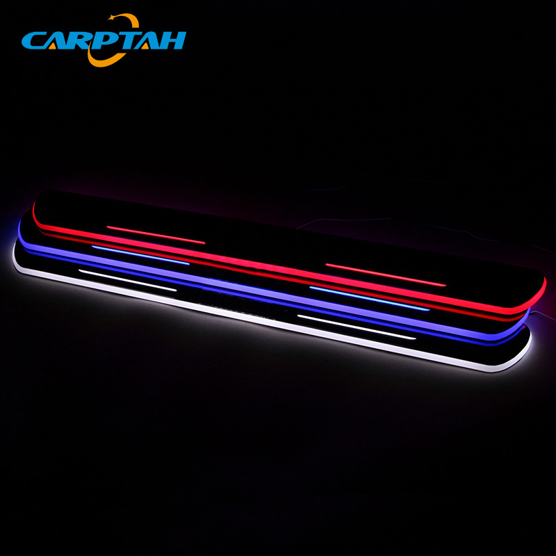 CARPTAH Trim Pedal Car Exterior Parts LED Door Sill Scuff Plate Pathway Dynamic Streamer light For Cadillac XT5 2014 - 2016 2017