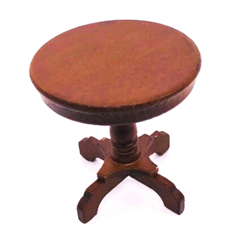 1:12 Wood Round Wooden Coffee Table Dollhouse Miniature Wooden Furniture Miniature