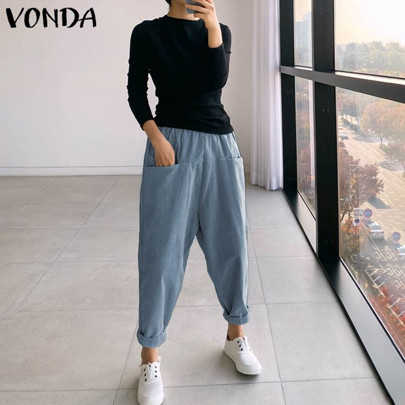 VONDA 2020 Casual Pants Women Elastic High Waist Solid Drop Crotch Harem Pants Plus Size Fashion Long Trousers Loose Bottoms