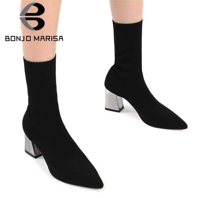 BONJOMARISA sıcak satış eklemek kürk çorap patik bayanlar parti moda sivri burun ayak bileği streç çizmeler kadın 2020 yüksek topuklu ayakkabılar kadın