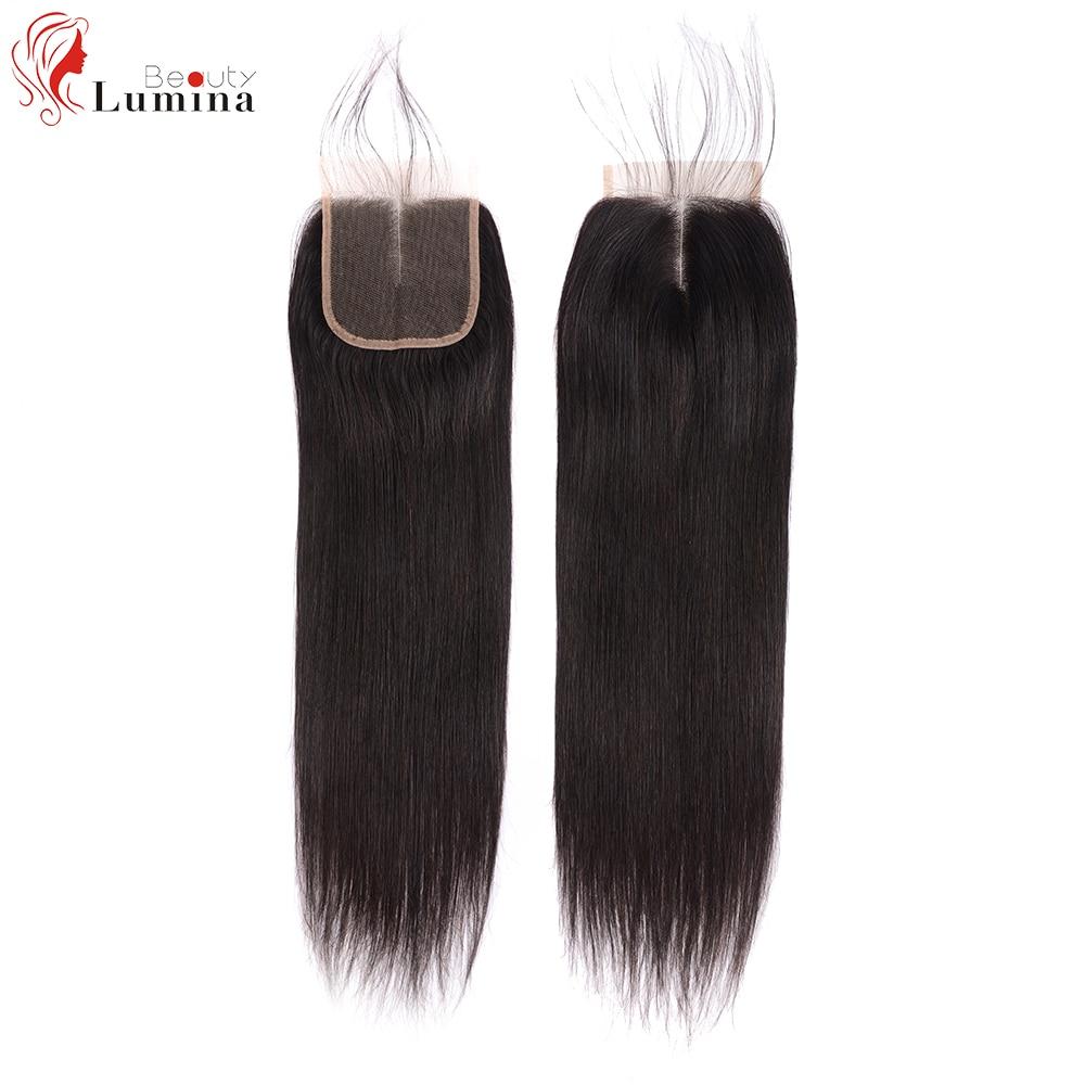 4x4 fechamento do laço em linha reta meio parte livre 100% cabelo humano brasileiro remy natural do cabelo fechamento frontal do laço com cabelo do bebê