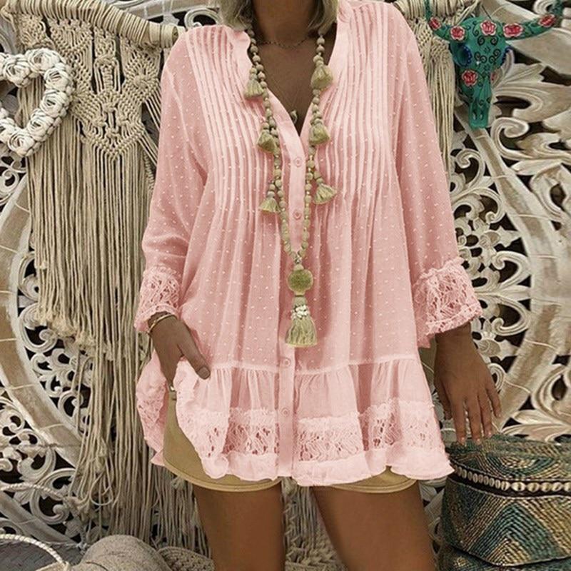 Женская шифоновая блузка в горошек, с V-образным вырезом и длинным рукавом