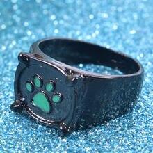 Anime preto gato anéis menina menino dos desenhos animados esmalte verde amor anel pata impressão na moda jóias festa crianças anéis presente