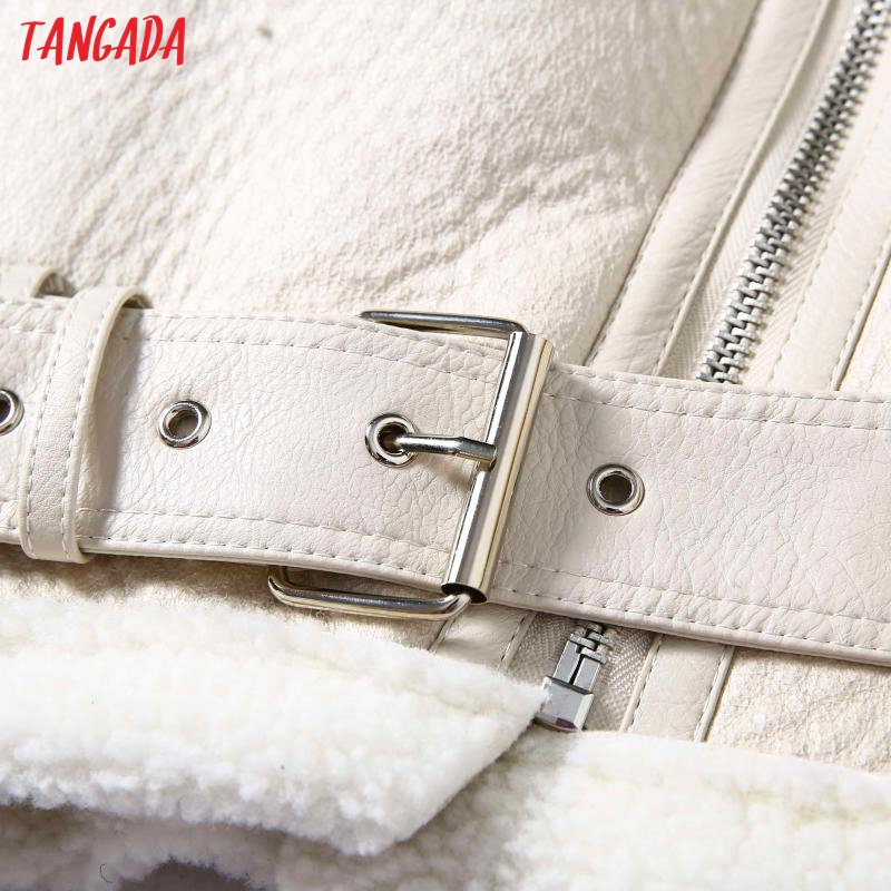 H7542a7fe4ef5427ebffa82b53241f6848 Tangada Women beige fur faux leather jacket coat with belt turn down collar Ladies 2019 Winter Thick Warm Oversized Coat 5B01