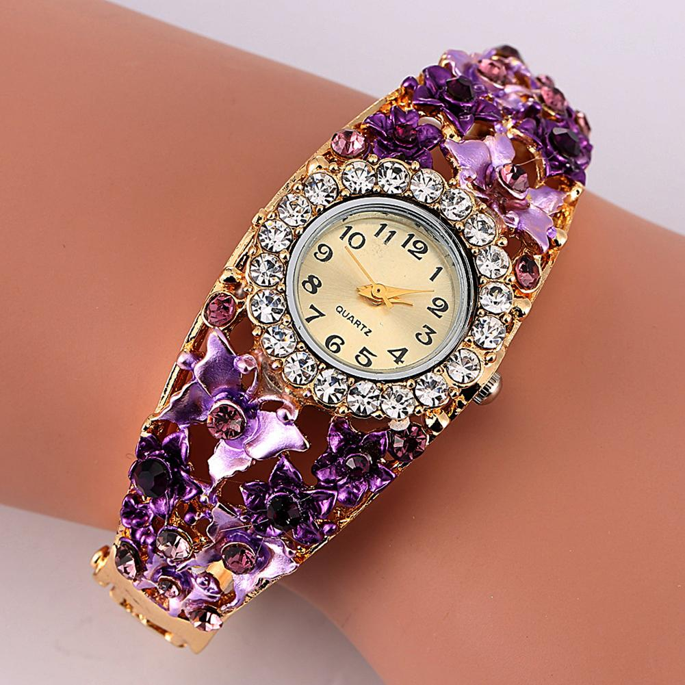 Women Watch Alloy Crystal Bracelet Flower Wrist Watch Women Clock Quartz Watches With Rhinestone Quartz Bracelet Watch