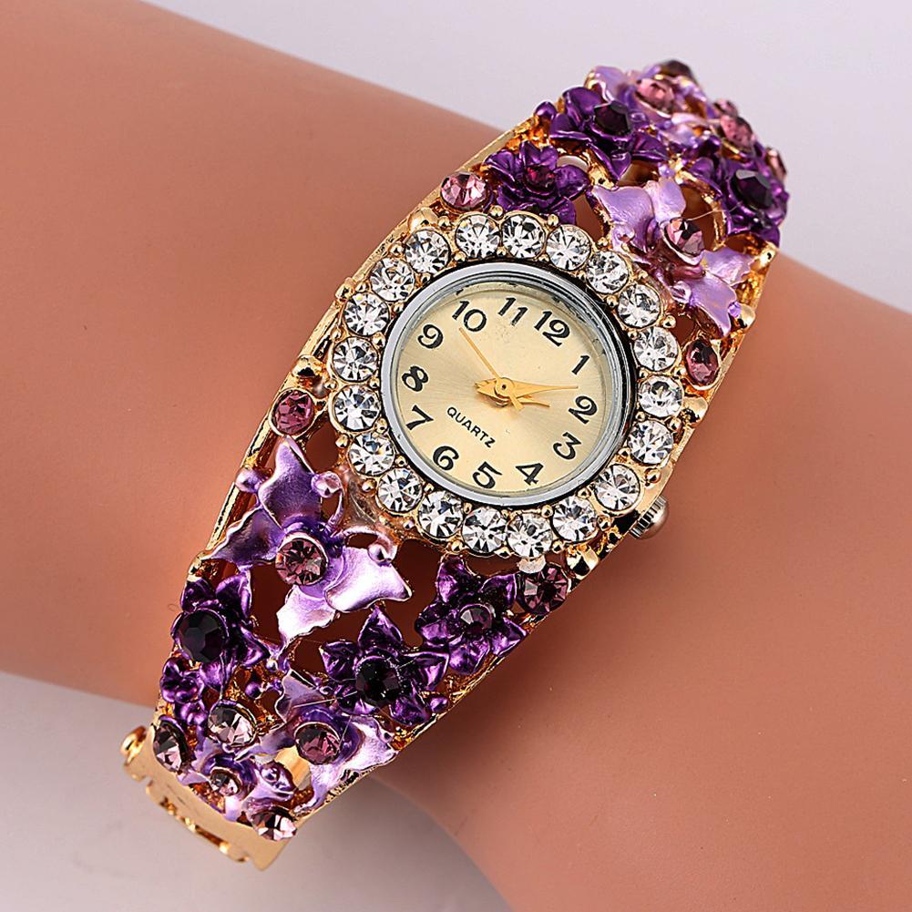 Women Watch Alloy Crystal Bracelet Flower Wrist Watch Women Clock Quartz Watches With Rhinestone Quartz Bracelet Watch