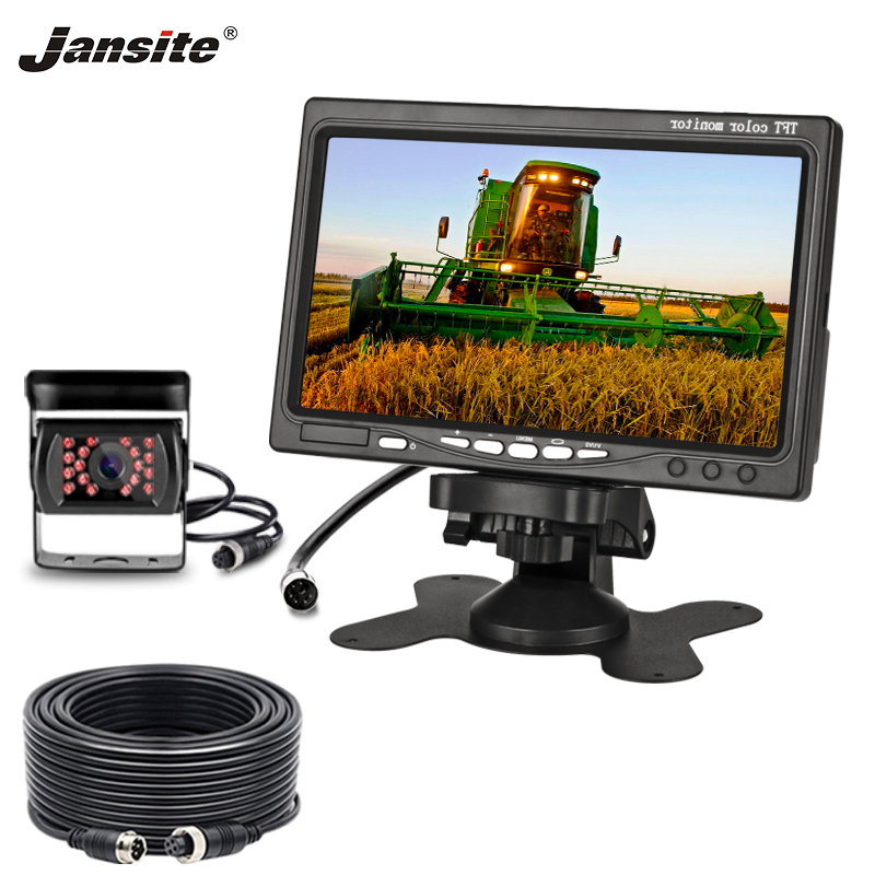 Jansite 7'' HD Car Monitor Rear View Camera Aviation Head Waterproof 4 Pin Camera Excavator Harvester Truck 12-24V Reverse Iamge