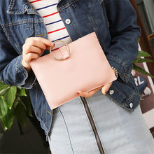 Light luxury Simple Style Mini Handbags Female Fashion Leather Pouch Metal Ring Casual Handbag Girls Envelope Clutch(China)