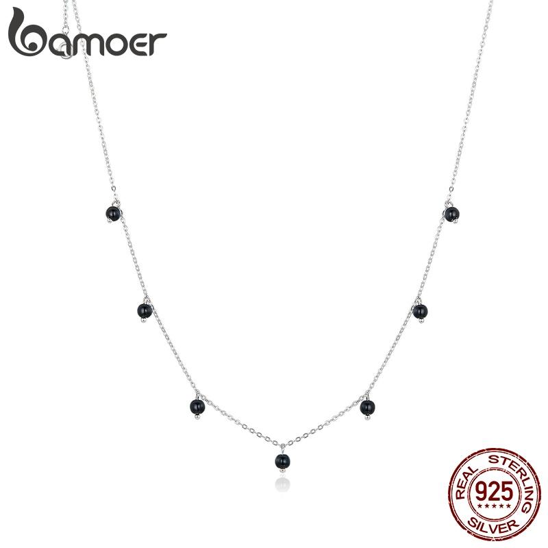 Bamoer-collier rond en cristal noir pour femmes, bijoux en argent Sterling 925, nouveau Design, SCN392, 2020