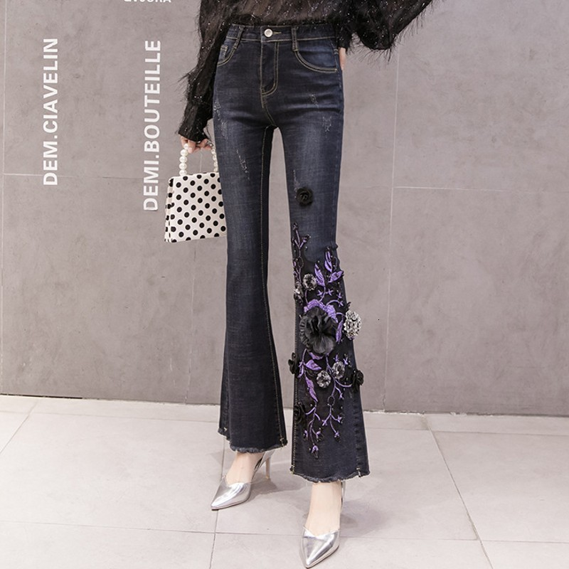 New Design Womens High Waist Vintage Denim Flare Pants Appliques Embroidery Ripped Full Length Stretch Slim Female Mermaid Pants