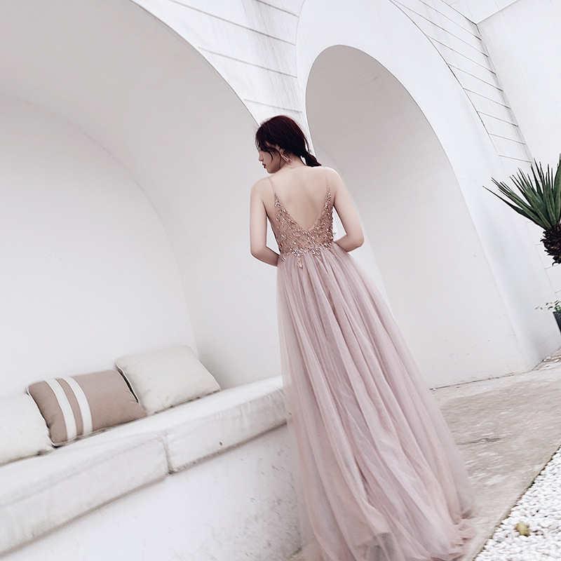 JaneVini Dusty Pink Crystal Long Prom Dresses 2020 Sexy Deep V Neck Sleeveless Side Split Tulle A Line Evening Gowns Robe Longue